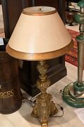 Beautiful Antique French Candlestick Lamp Base With Gold Patina 30andrdquo