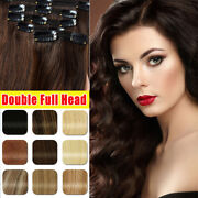 5pcs Thick Double Weft Clip In Real Remy Human Hair Extensions Full Head 10-22