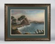 Early California Monterey Landscape Pastel Painting - Lone Cypress Point C. 1900