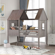 Twin Size Wood Loft Bed House Bed W/2 Side Windows Kids Teens Bed Frame Gray