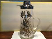 Vintage Sterling Silver Overlay Glass Iced Drink Pitcher 11.5 X 5.25