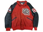 Vintage Mickey Mouse Disney Store Varsity Jacket Men's Xl Wool Leather Red