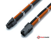 4 Pin 30cm Black And Orange Cpu Mobo Sleeved Extension Shakmods + 2 Cable Combs