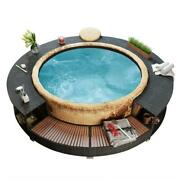 Spa Hot Tub Surround Poly Rattan Black And Gray Hot Tub -not Included