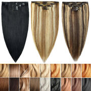 Thick Double Weft Clip In 100 Remy Human Hair Extensions Full Head 5pcs Hair Us