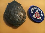 Original Ww2 Civil Defense Communications Patch And Auxiliary Badge