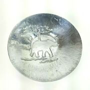 Holland Boone Pewter Large Bowl Elephant African Scene Lead Free Made In Mexico