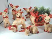 Vintage Set Of 7 Kimple Mold Ceramic Reindeer And Sleigh Hand Painted W/package