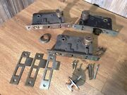 3 Antique Door Lock Mortise Reading Hardware W/locks And Some Parts G9