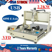 Usb 6090 4 Axis Cnc Router Engraving Mill Metal Vfd Diy Machine 2.2kw Cutter 3d