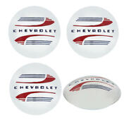 Chevy Truck Hub Cap Set Polished Stainless Steel With Red And Blue Painted