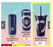 Thailand Starbucks Only Navy Sakura Wreath Cold Cup Stainless Steel 18oz Cup