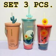 Set 3 Pcs. Shop Thailand Starbucks Cactus New Collection Stainless Steel Cup
