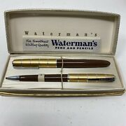 Vintage Watermans 14kt Gold Tip Pen And Mechanical Pencil Set With Case Brown