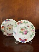 Antique 18th C Worcester Butterfly Fruit Insect Fluted Bowl Pair