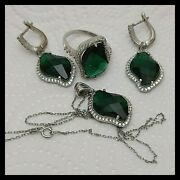 925 Sterling Silver Turkish Handmade Jewelry Lady Emerald Set Ring Size 8,5