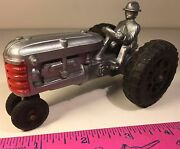 Vintage 1950s Hubley Kiddie Plastic Toy Tractor With Driver And Rubber Tires
