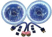Chevy Headlight 7 Inch Round White Diamond With Single Color White Led Halo