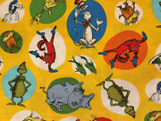 Celebrate Seuss By Kaufman Characters On Yellow Kids Cotton Fabric Hy