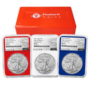 2021 1 Type 2 American Silver Eagle 3 Pc Set Ngc Ms70 Als Er Label Red White Bl