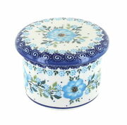 Blue Rose Polish Pottery Daphne French Butter Dish