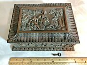 Antique Victorian Copper Jewelry Cask Box Ornately Embossed