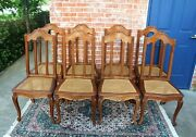 Set Of 8 French Oak Antique Louis Xv Caine Seat Dining Chairs