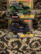 Two 2021 Monster Jam Grave Digger And Son-uva Record Breaking Truck Lot New 124