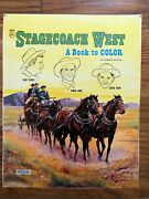 Stagecoach West Coloring Book Cover Proof 1960s Wayne Rogers Tv Western Vintage