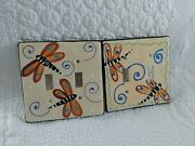 Dragonfly Ceramic Double Switch Plates Wall Plate Covers Set Of 2