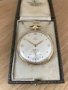 Superb Vintage 18ct Gold Omega 1944 Swiss 17 Jewel Open Faced Pocket Watch And Box