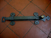 Very Large Antique Wrought Iron And Brass Blacksmith Made Door Bolt