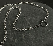 Solid 925 Sterling Silver Rolo Chain Necklace Handmade Hook Toggle Front Clasp