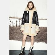 Coach Biker Sheepskin And Leather Coat Black Natural Made Italy F86196 Size S