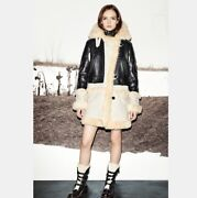 Coach Biker Sheepskin And Leather Coat Black/natural Made Italy F86196 Size Xs
