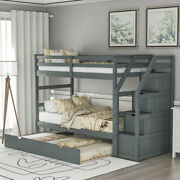 Twin Over Twin Bunk Bed W/twin Size Trundleand3 Storage Stairs Kids Bedroom Gray