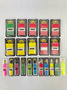 Lot Of 21 Post It Flags And Tabs Bright Colors Small And Large Sizes In Dispensers
