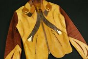 Vtg 60s East West Musical Instruments Parrot Leather Jacket Rockabilly Xs Brown