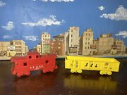 Marx O Scale Plastic A.t.ands.f. Caboose And Scl Gondola