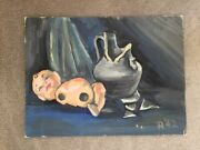 Oil On Canvas Painting Signed California Modern Kewpie Doll And Vase Surreal 1942