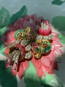 1930's Rare Coro Duette Brooch Gold Filed Floral Fur Clips