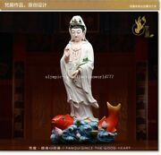 20and039and039 Dehua White Porcelain Colored Drawing Ruyi Guanyin Bodhisattva On Fish