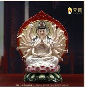 18and039and039 Dehua White Porcelain Handcraft Colored Drawing Twenty Two Hand Guanyin
