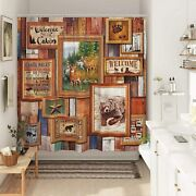 Cabin Pine Wildlife Lodge Collage Fabric Shower Curtain Modern Rustic72x72-new