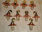 Nautical Vintage Style Alleyway Bulkhead Light Fixture Brass And Copper 10 Piece