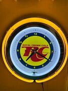 Rc Royal Crown Cola Soda Fountain Diner Kitchen Man Cave Yellow Neon Clock Sign