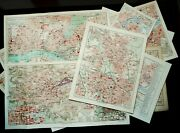 1897 Set Of 16 Antique City Maps Of German Cities. Germany. 124 Years Old Charts