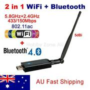 2in1 Usb Dual Band Wireless Ac Wifi Bluetooth V4.0 Adapter Dongle 600mbps 5dbi
