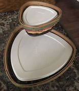 Longaberger 2008 Fiesta Triangle Baskets And Wrought Iron Chip And Dip Set Combo