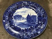 Antique Wedgwood Deep Blue Historical Plate N Pearl State St Albany Ny